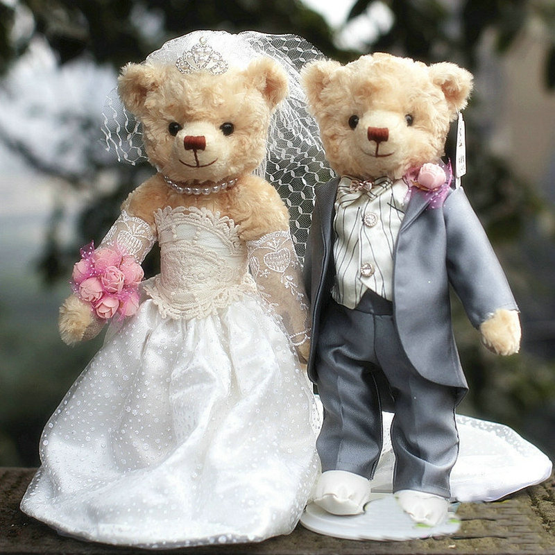 Lover Plush Teddy Bear Dolls Wedding Dresses Teddy Bear a Couple 5 Jointed Bear Stuffed Animal Toys Wedding Gift Car Decoration