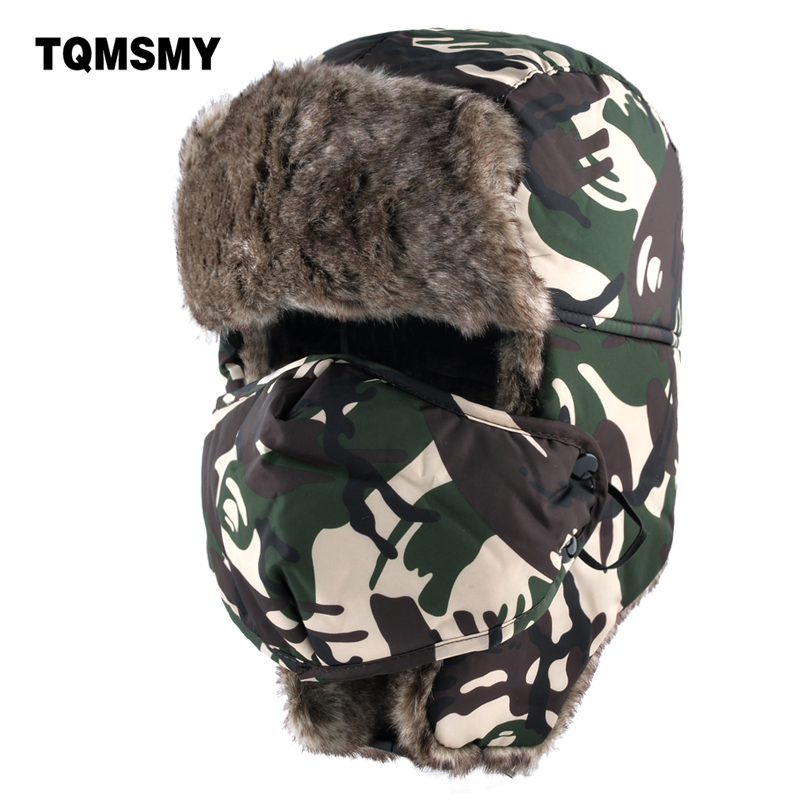 TQMSMY Camouflage Ear Flaps Hat Men Ushanka Snow Caps Unisex Bomber Hat Women Winter Hats For Men's Masks Cap Casual Warm Bone