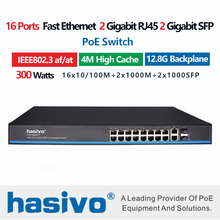 16 Port  48V  PoE switch fast ethernet switch 2x1000M gigabit uplink 2x1000M SFP fiber switch for ip Camera wireless  PoE switch poe switch with fiber uplink 100m 8 port poe switch 8 port af poe ports and 1 single fiber uplink bandwidth 1 6gbps