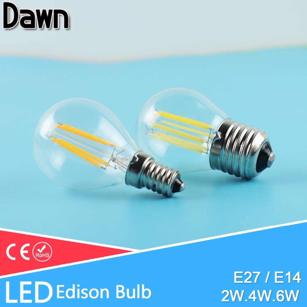 LED Bulb E27 E14 led lamp G45 AC 220V 240V LED Glass Ball Bulb 2W 4W 6W Edison lamp Antique Retro Vintage Led Filament Light