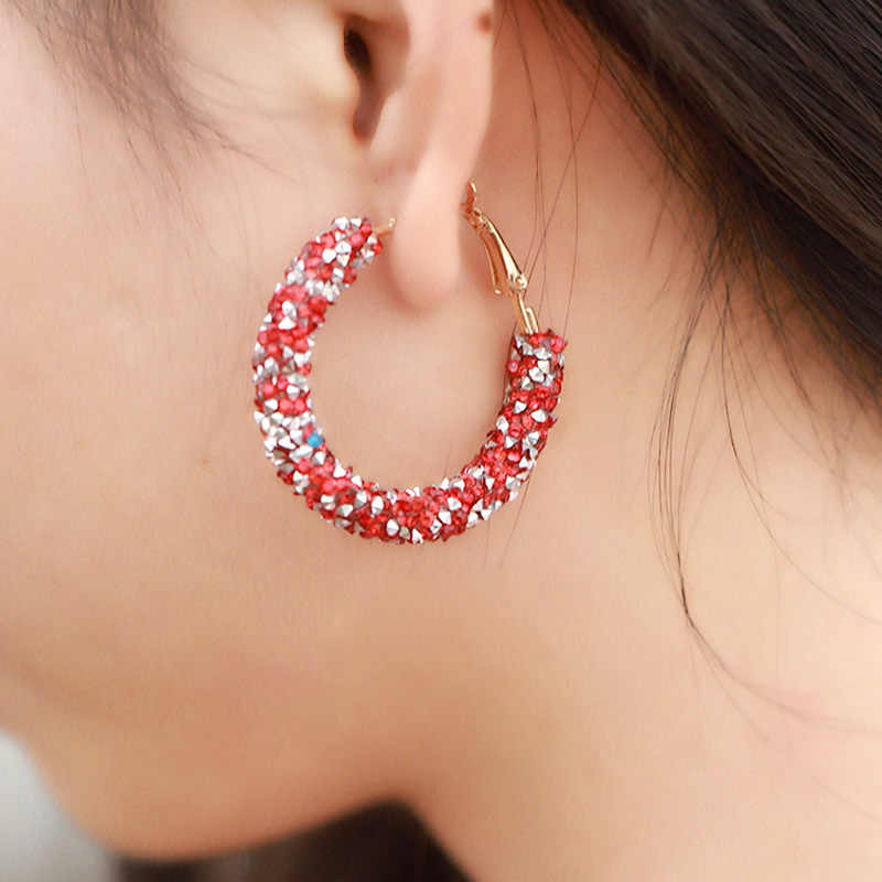 3283d801d1edf Fashion Shiny Crystal Big Hoop Earrings For Women Round Circle ...