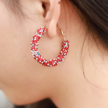 Fashion Shiny Crystal Big Hoop Earrings For Women Round Circle Piercing Earrings Feminio Circle Ear Jewelry Wedding Party Gift