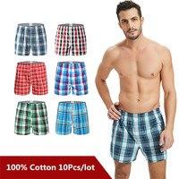 10PCS Classic Plaid Men's Boxers Cotton Mens Underwear Trunks Woven Homme Arrow Panties Boxer Plus size 9XL