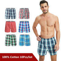 10PCS Classic Plaid Men's Boxers Cotton Mens Underwear Trunks Woven Homme Arrow Panties Boxer Plus size 9XL