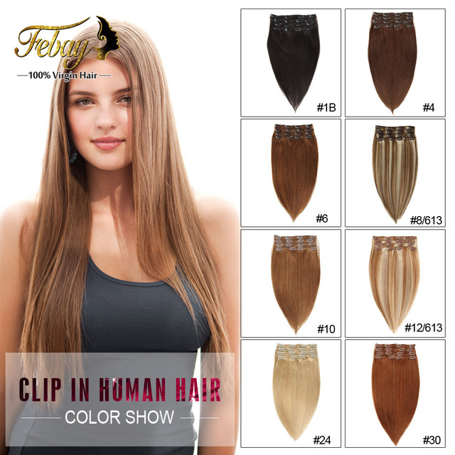 Clip Ins Brazilian Virgin Hair Extension Remy Clip In Hair Extension Full Head Set Virgin Hair Clip In Human Hair Extensions