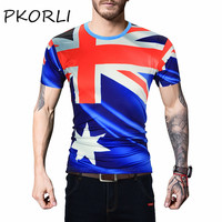Pkorli Brand 3d T Shirt Men Fashion Australian Flag Printed Short Sleeve Hip Hop Funny T