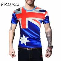 Pkorli Brand 3d T Shirt Men Fashion Australian Flag Printed Short Sleeve Hip Hop Funny T