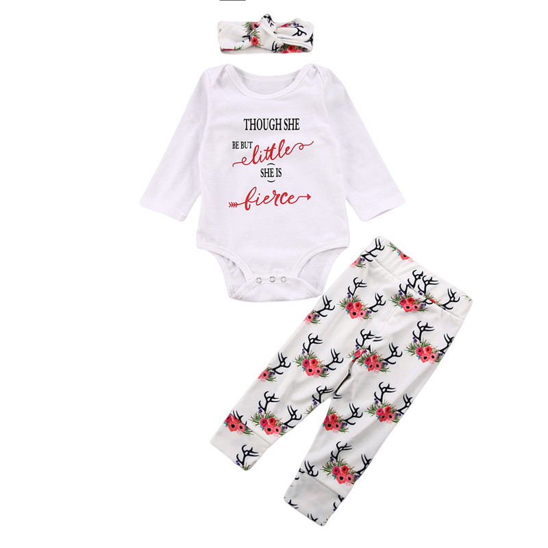 New Newborn Baby Girls Clothes Long Sleeve Romper Bodysuit Playsuit+Pants Headband 3PCS Outfit
