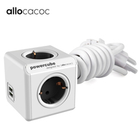 Allocacoc Powercube Extension EU Plug Power Strip travel Adapter multi Smart Socket 2 USB 5V 2.1A Ports 4 outlets Cable 1.5M 3M