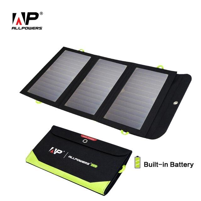 ALLPOWERS Năng Lượng Mặt Trời Sạc 5 V 21 W Built-In 6000 mAh Pin Di Động Năng Lượng Mặt Trời Tế Bào cho iPhone 5 6 6 s 7 8 X iPad Samsung Xiaomi Huawei