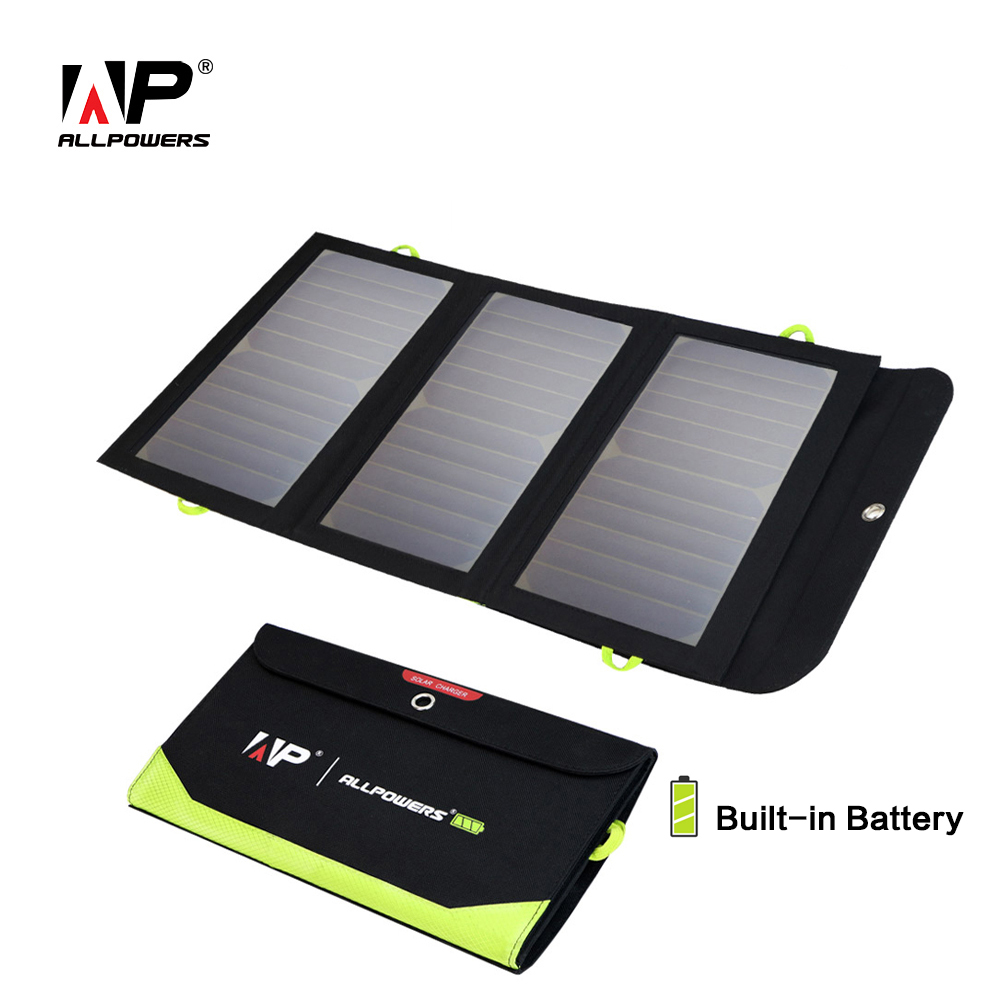 ALLPOWERS Solar Charger 5V 21W  Built-in 6000mAh Battery Portable Solar Cells for iPhone 5 6 6s 7 8 X iPad Samsung Xiaomi Huawei
