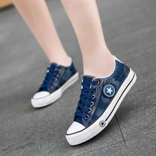 7459c5b6f Vulcanized Shoes Women Canvas Sneakers Flat Denim Casual Shoes Women  Trainers Stars Ladies Sneakers Rubber Sole Zapatos Mujer