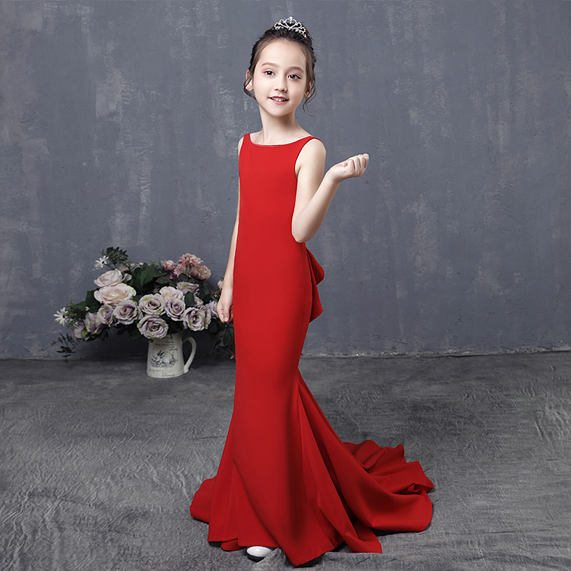 Long Tailings Wedding Kids Dress Red Trumpet Flower Girl Dresses Backless Evening Tutu Mermaid Princess Dress for Birthday AA257 luxury mermaid long flower girl dress wedding princess dress red beading evening kids girls dress for birthday party show gowns
