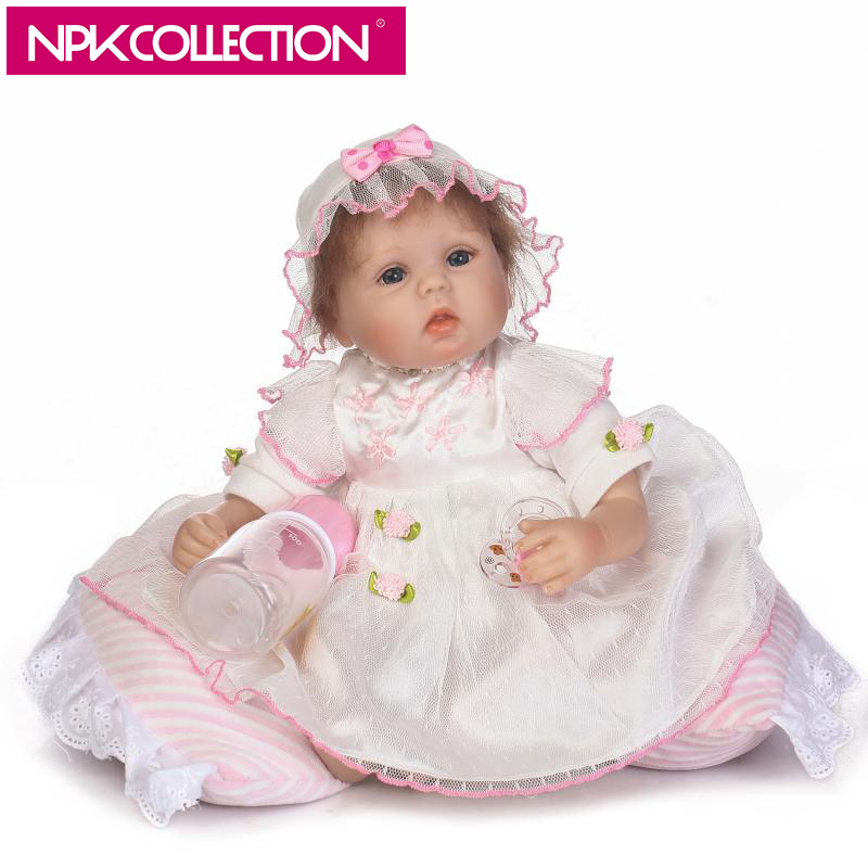 NPK 17 Inch 42cm Lifelike Soft Silicone Reborn Baby Doll Lovely Realistic Looking Baby Girl Newborn Toddler Gift For Girls