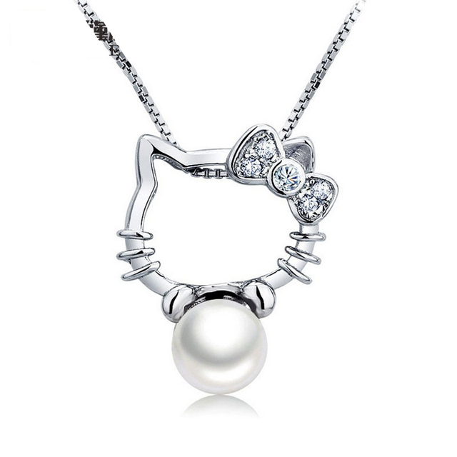 a2327cd29 925 Sterling Silver Hello Kitty Necklace Pendant Freshwater Pearls Sterling Silver  Necklace Chain Brand Jewelry