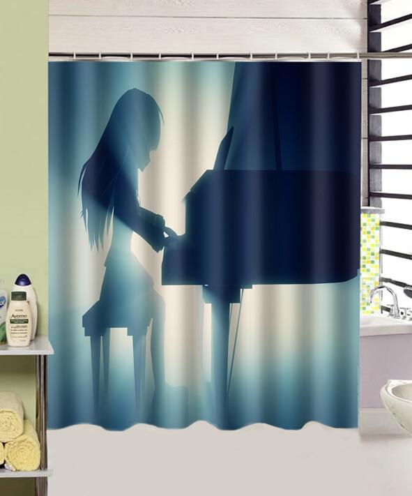 New Angel Beats Anime Play Piano Bathroom Curtain Home Decors 180cmx165cm High Quality Polyester Fabric Shower