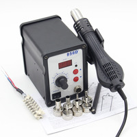Riesba 858D 700W ESD Soldering Station Hot Air Gun Digital Desoldering Station 7 Air Nozzles Heating