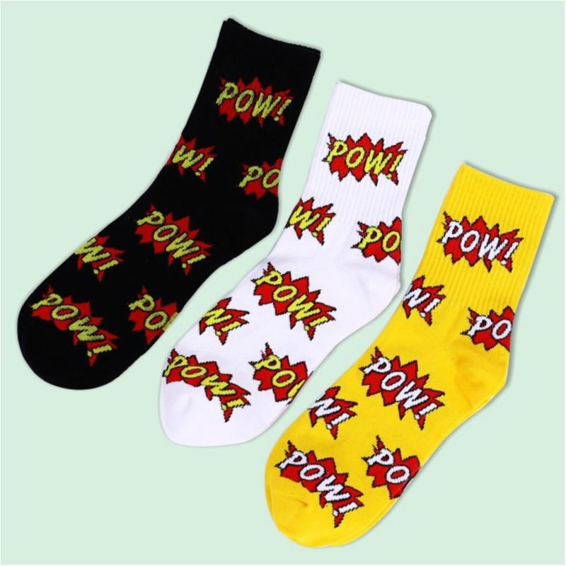 Letter Fashion Harajuku Printing Colorful Men Happy Casual Ventilation Cotton Socks Male Funny Street Hip Hop Skate Socks Autumn