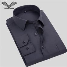 VISADA JAUNA Solid Color Men Shirt Casual Business Male Brand Clothing Formal Long Sleeve Camisa Social Masculina 5XL N349