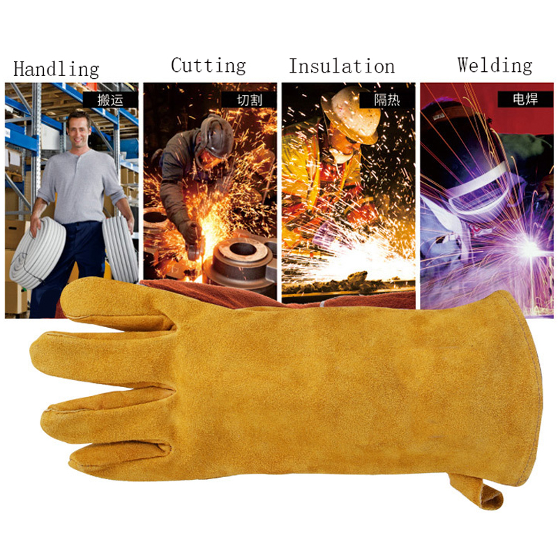 New Cowhide Welding Gloves TIG MIG MAG High Temperature Wear-Resistant Work Labor Protection the work GLOVES high quality hand tool gloves 12 pairs 700g cotton gloves wear resistant work thick gloves against high low temperature gloves