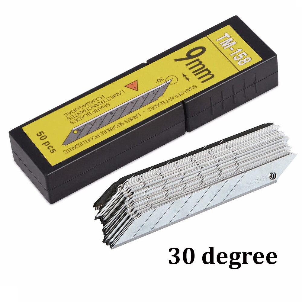 EHDIS 50 pcs carbone vinyle Auto remplacement lames 30 degrés feuille Film voiture Wrap Cutter couteau lame emballage autocollant accessoires