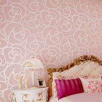 High Quality Wholesale Environmental Non Woven Wallpaper Flocking Rose Living Room Bedroom TV Background Wallpaper
