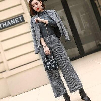 Plaid Pant Suits Women Autumn New Korean classic plaid short suit fashion  two piece wide leg pants suit women Increase size 3XL -in Pant Suits from  Women s ... c783ca463609