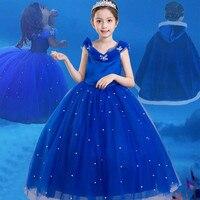 Blue Girls Cinderella Dresses Fancy Summer Party Pearl Decoration Sleeveless Dress Elsa Princess Cosplay Costume Vestido Cloth