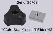 SET of 20PCS, 10PCS M8 Star knob + T-slider fot Standard T-slot, Woodworking Jig Accessory