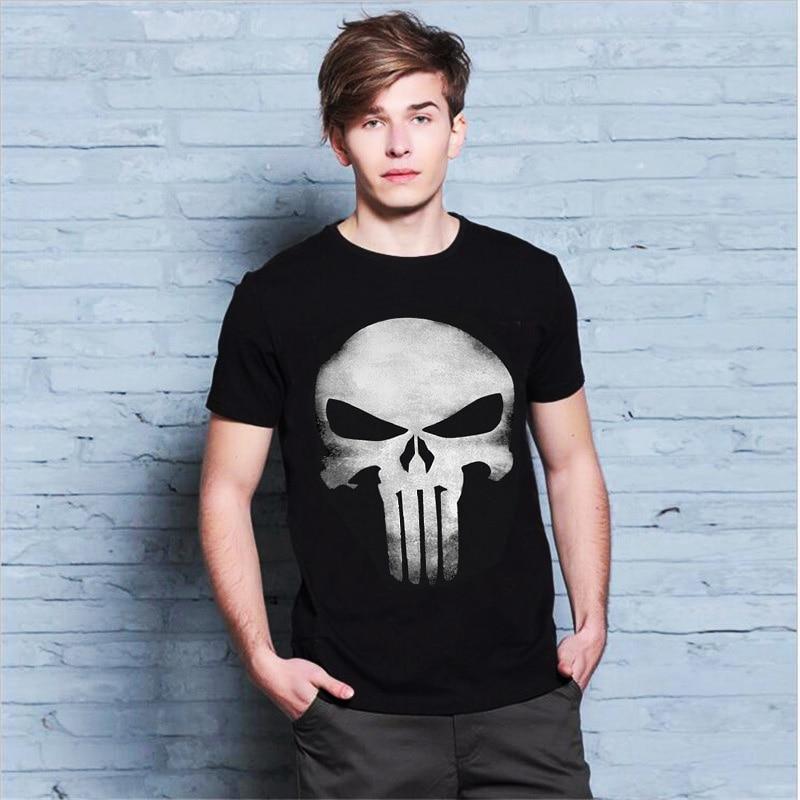 The Punisher Skull Men Fashion T Shirt Print Marvel Comics Supper Hero Clothes HIP-HOP Style Summer T shirt Own Design #50