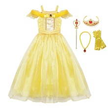 VOGUEON Girls Princess Belle Party Dress Beauty and The Beast Kids Dress up Halloween Cosplay Costume Little Girl Prom Clothing princess bell dress purple mesh beauty and the beast a line cosplay dress kids carnival costume halloween party show vestido