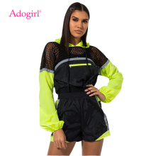Adogirl Fishnet Color Patchwork Casual Two Pece Set Women Tracksuit Long Sleeve Hooded Sweatshirts + Summer Shorts Sportswear