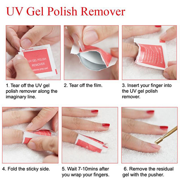 Tp 100pcs Box Easily Remove Wraps Uv Soak Off Gel Nail Polish Remover P Peach Flavor Acetone Prep Pad Art Manicure Tools In Hair Clips Pins From