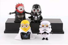 4 pçs/set 8 cm Minion estrela guerra Darth Maul Action Figure pvc Modelo Skywalker crianças Collectibles Brinquedos presentes de Natal