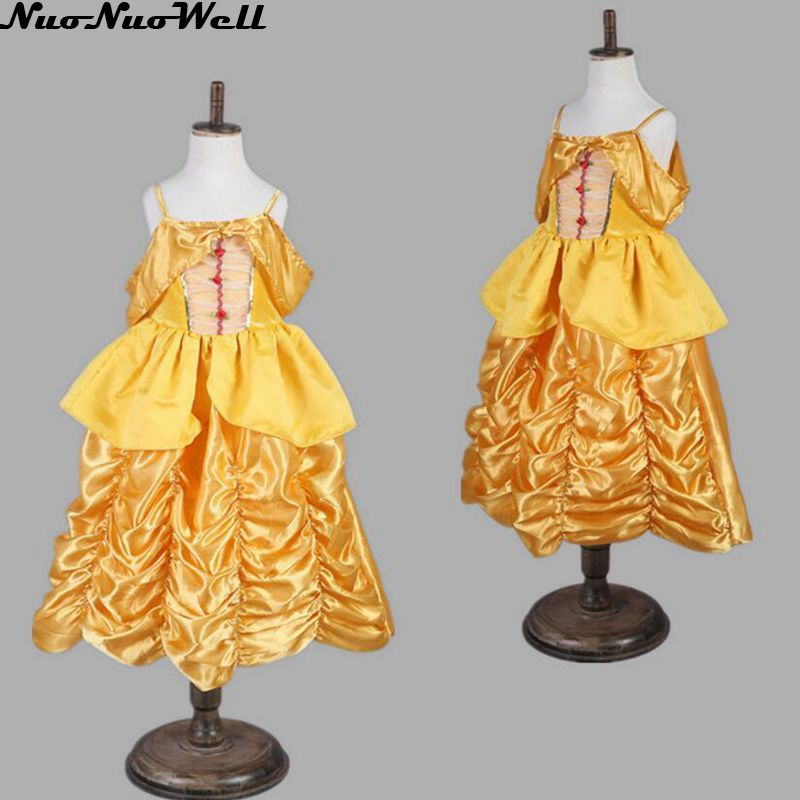 High Quality Halloween Carnival Party Princess Role Play Outfits Girls Leader of Kingdom Yellow Cosplay Long Dress