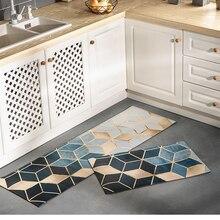 PVC Öl proof Küche Teppiche Lange Größe Boden Matte Marmorierung Muster Küche Matte Set Nicht slip Boden Decor fußmatte Sofa Bereich Tatami