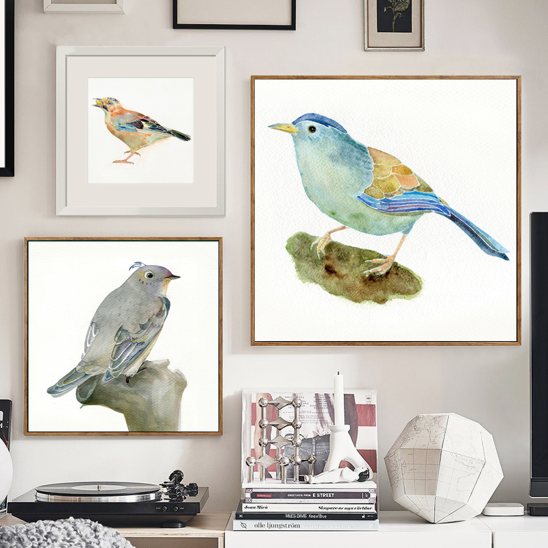 Watercolor bird Modular pictures poster illustration canvas art Painting on the Wall for living room Home Decoration