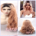 Aurica Natural Fashion Short Dark Brown Roots Ombre Light Pink Bodywave Heat Resistant Synthetic Hair Lace Front Wigs  For Women