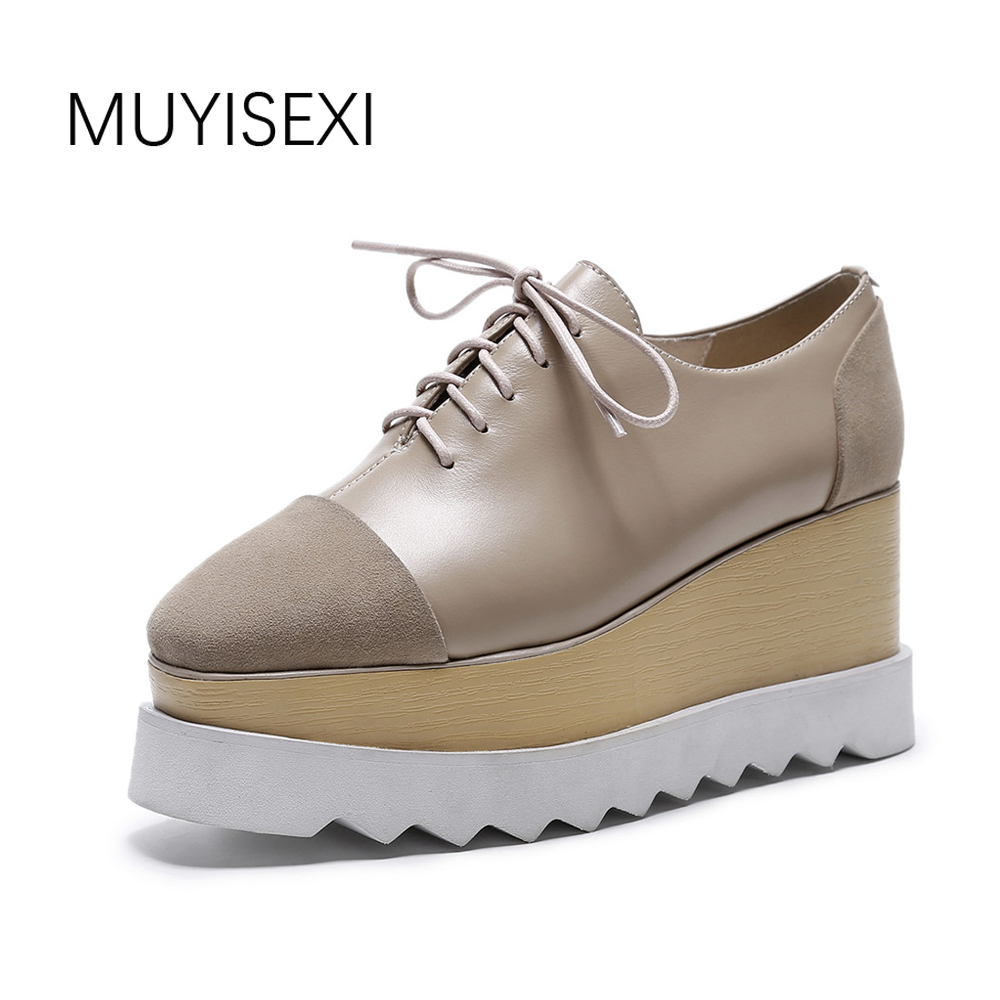 Women's Platform Shoes Casual Sneakers Genuine Leather Square Toe Lace-Up Women Flat Black Apricot Plus Size 33-42 BB10 MUYISEXI muyisexi solid genuine leather with 3d flower loafers sneakers flat height increase casual women shoes gray black plus size bs01