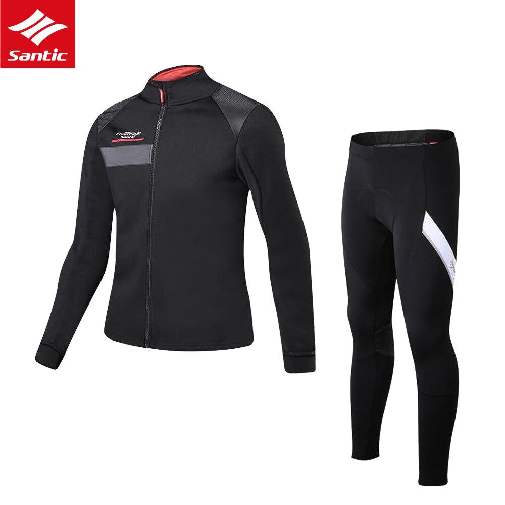 SANTIC Джерси комплект Зимний термальный флис велосипедная одежда Комплект Джерси ветрозащитная куртка велосипедная Спортивная одежда для в