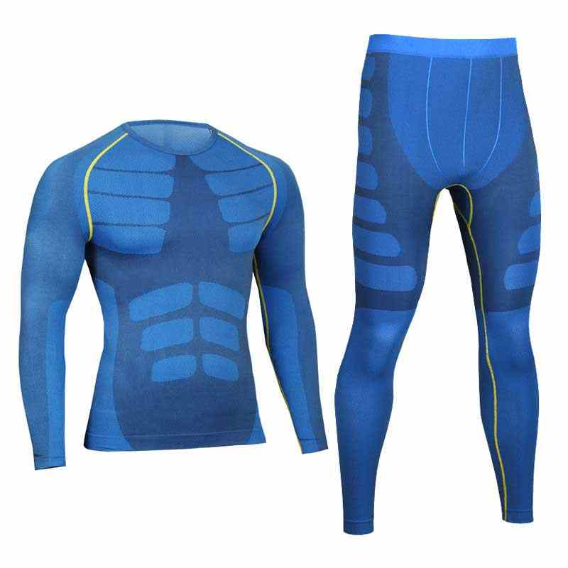 Men Pro Compression Long Johns Fitness Quick Dry Gymming Male Shirts + Tights Pants Sporting Runs Thermal Underwear Sets 0405