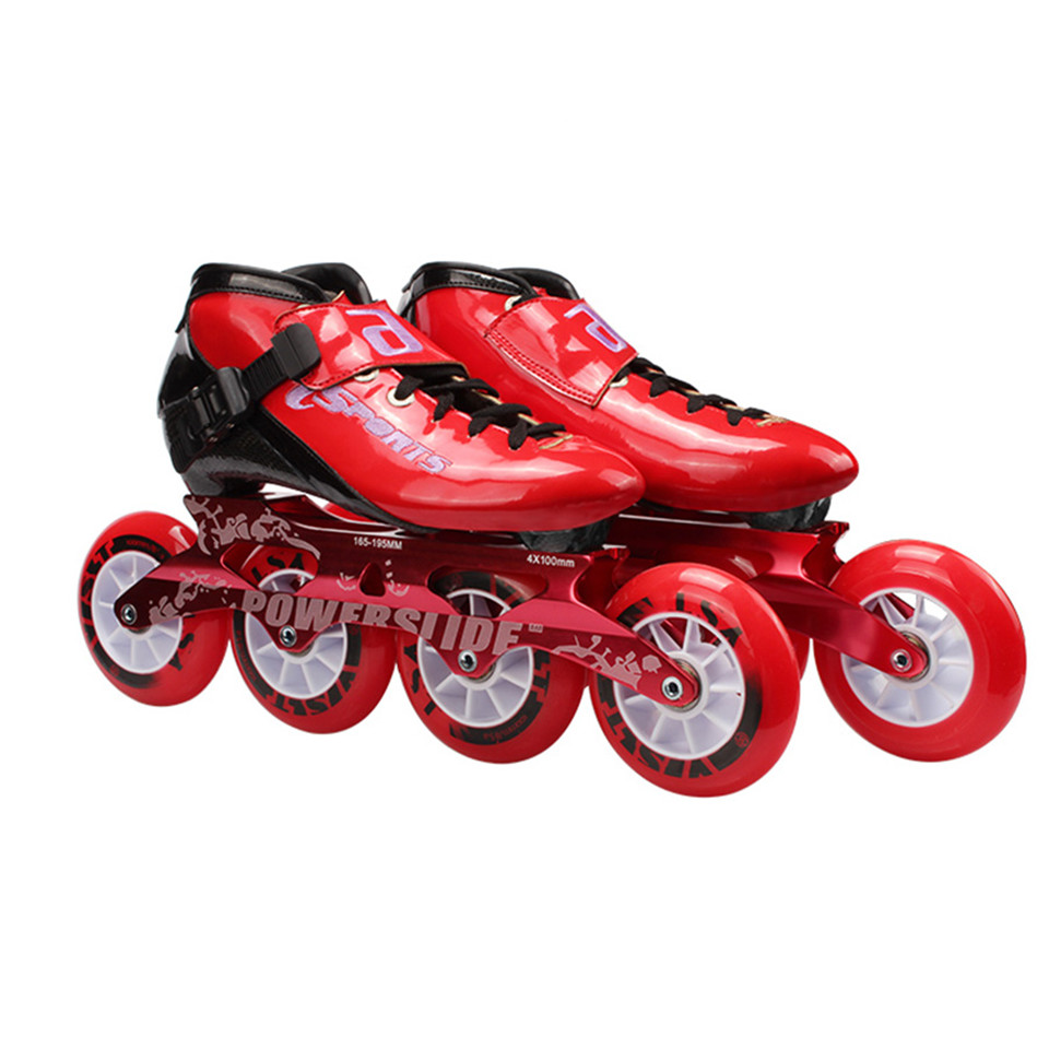 Jus Japy Vitesse roller-skates Carbone fibre Professionnel 4*100/110mm Concurrence 4 Roues Course De Patinage Patines Similaire Powerslide 38