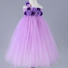 Lovely Princess Tutu Dress Kids Girls Purple White Flower Girl Dresses Tulle Custom Flowers Pageant Birthday