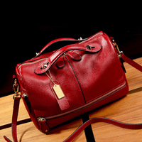 European and American Style Women's Genuine Leather Handbags Boston Shoulder Bags Messenger Bag Women Bags Cow Leather Tote Bag