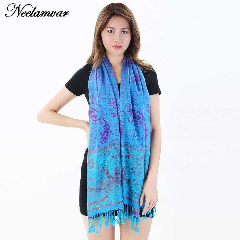 Neelamvar nuevas mujeres de alta calidad bufanda de invierno mantón Jacquard de algodón cálido bufanda de la borla de la marca de la mujer bufandas básicas