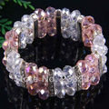 "Free Shipping New without tags 7x10MM Clear and Pink Crystal Faceted Beads  Stretch Bracelet 7""  1Pcs RH618"