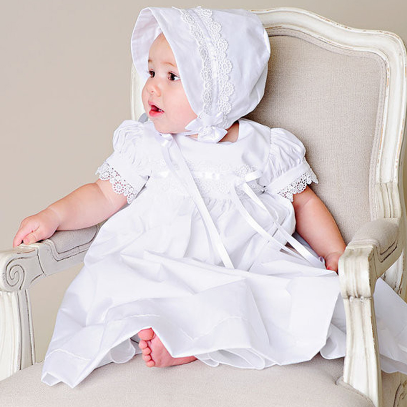 Hot Summer Style Baby Girls Dress O-Neck Floor Length Puff Sleeve Sleeveless Lace A-Line Formal Baby Girl Christening Gowns puff sleeve round neck top