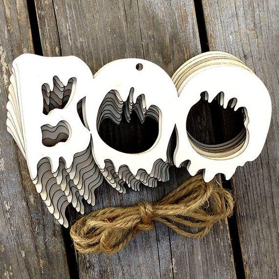 758 16 De Descuentomadera Boo Cadena Palabra Artesanía Forma Gran Decoración De Halloween En Madera Artesanías De Bricolaje De Hogar Y