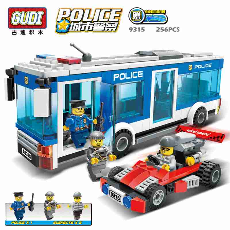 ФОТО gudi city police series truck building blocks city police interception culprits truck blocks toys children