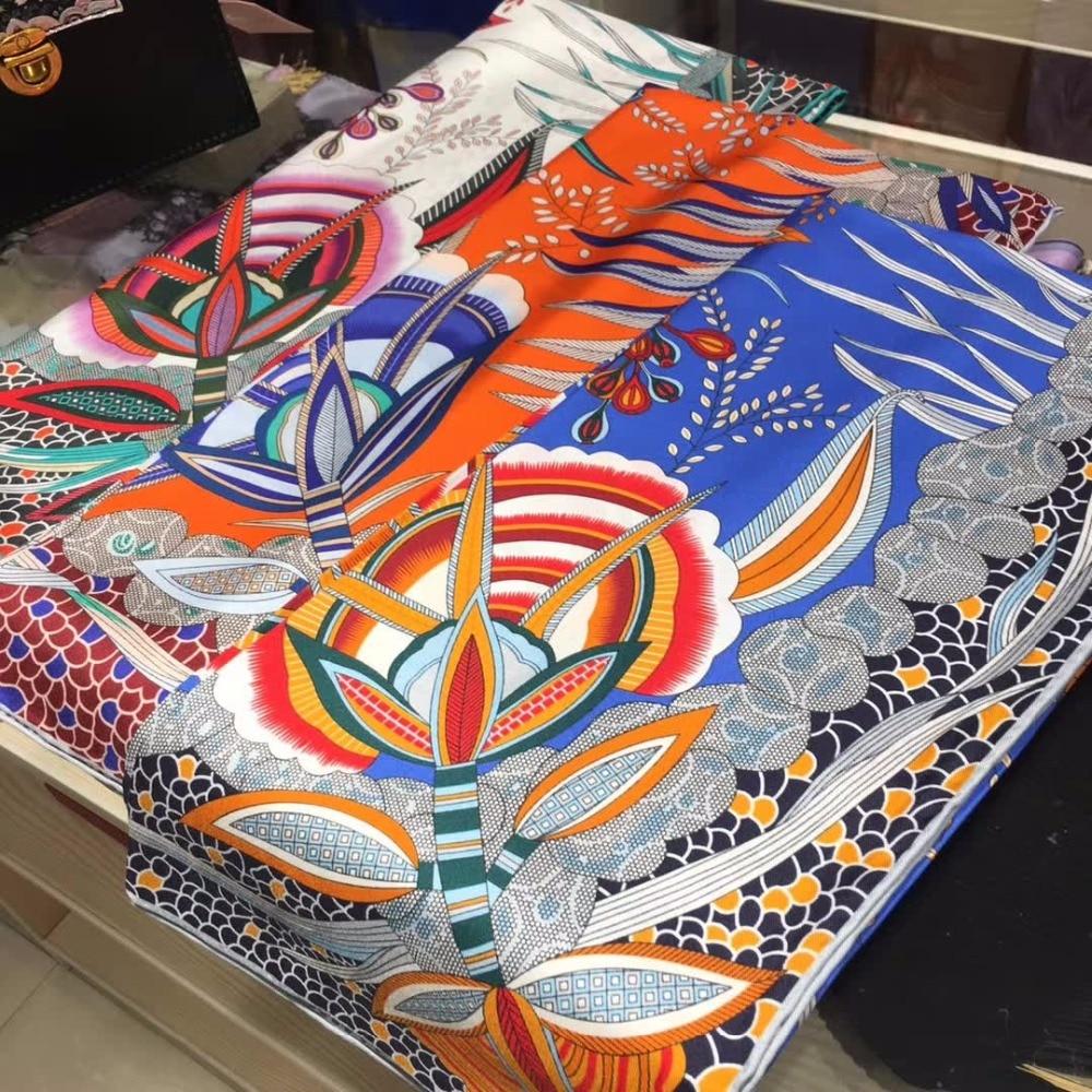 2018 Spring Printed 100% Silk Twill   Scarf   Women Large Square Silk Scarfs Shawl   Wraps   Foulard 88x88cm